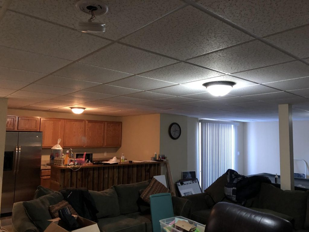 basement that needs remodeling with cabinets