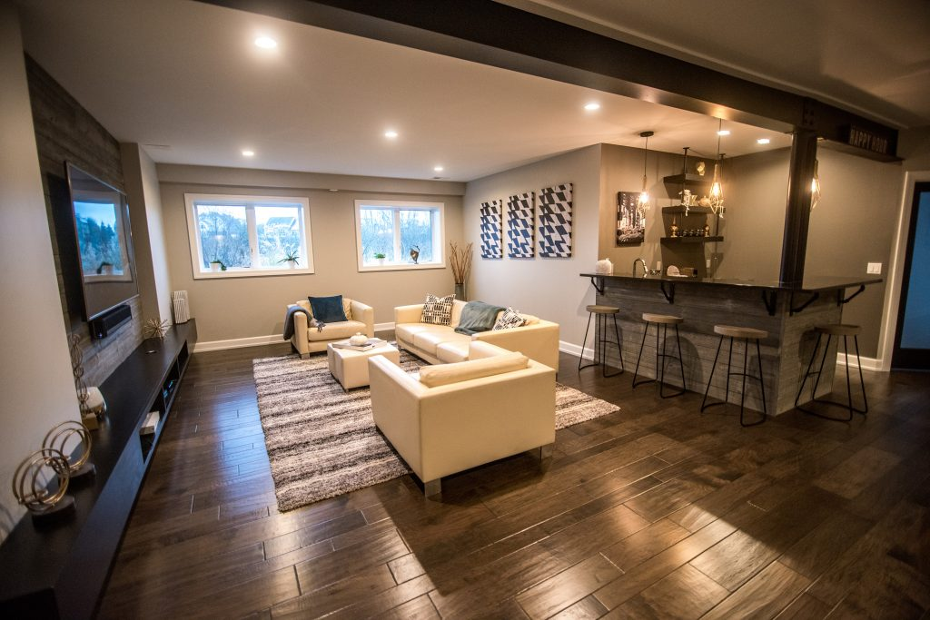 bright and open concept basement living room