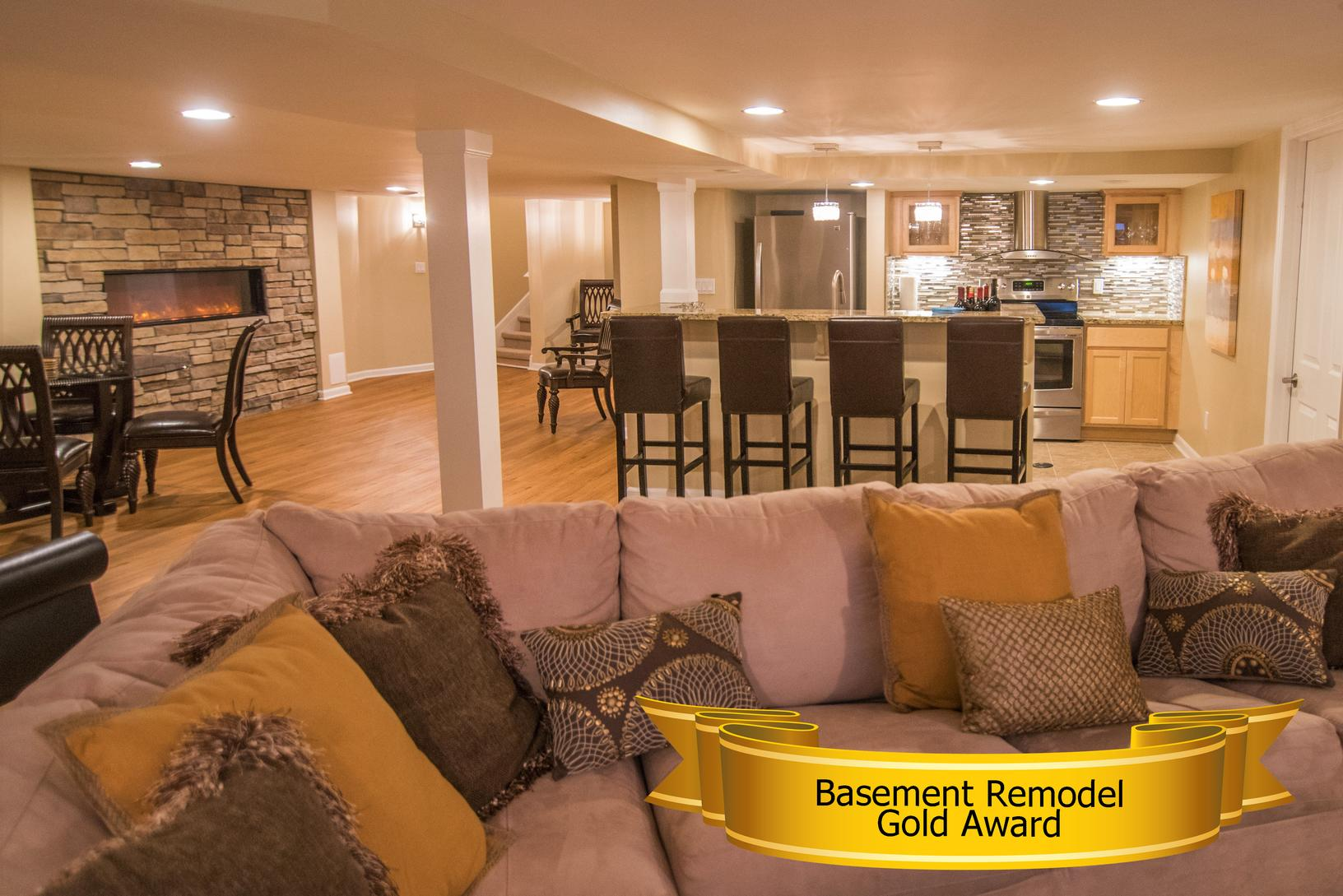 home builders association of south eastern michigan gold award for basement remodel finished basements plus 2016