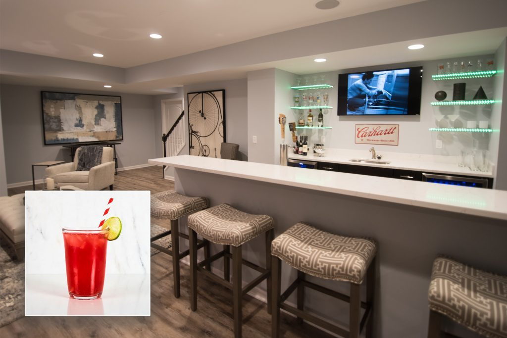 finished basement bar with drinks that they inspire novi