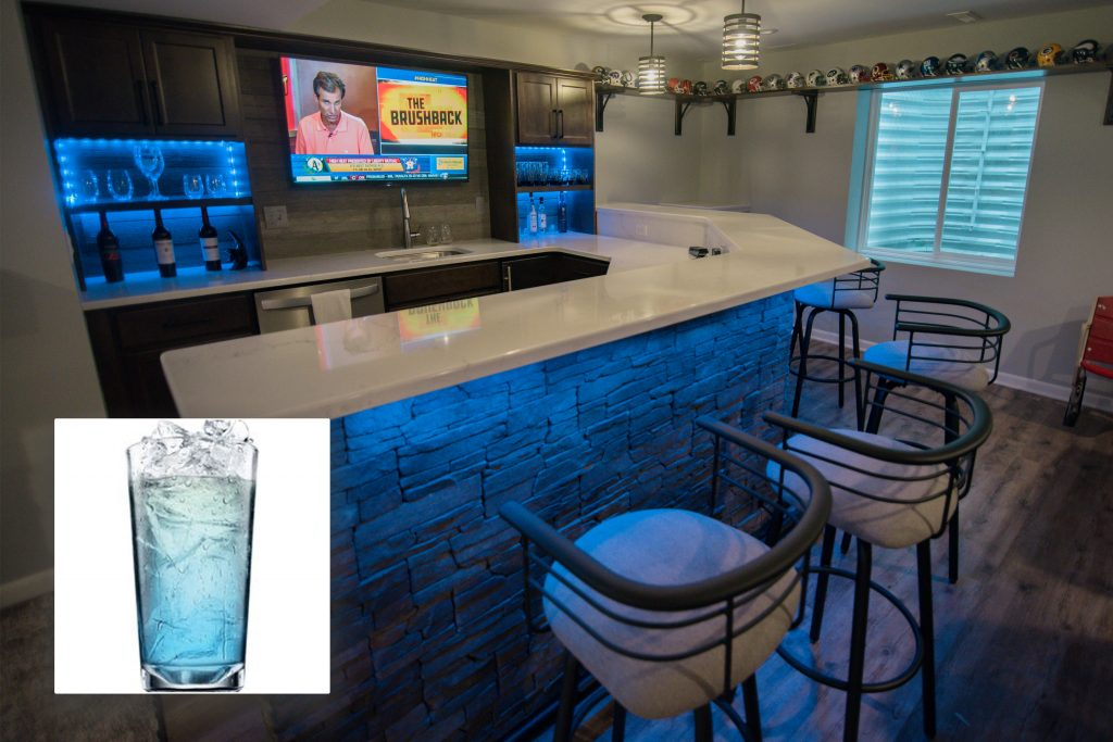 cupids blue and finished basement bar with blue LED lighting