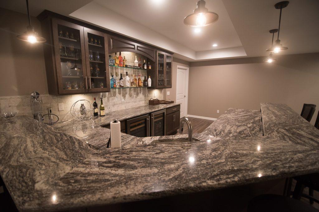 unique granite in basement bar