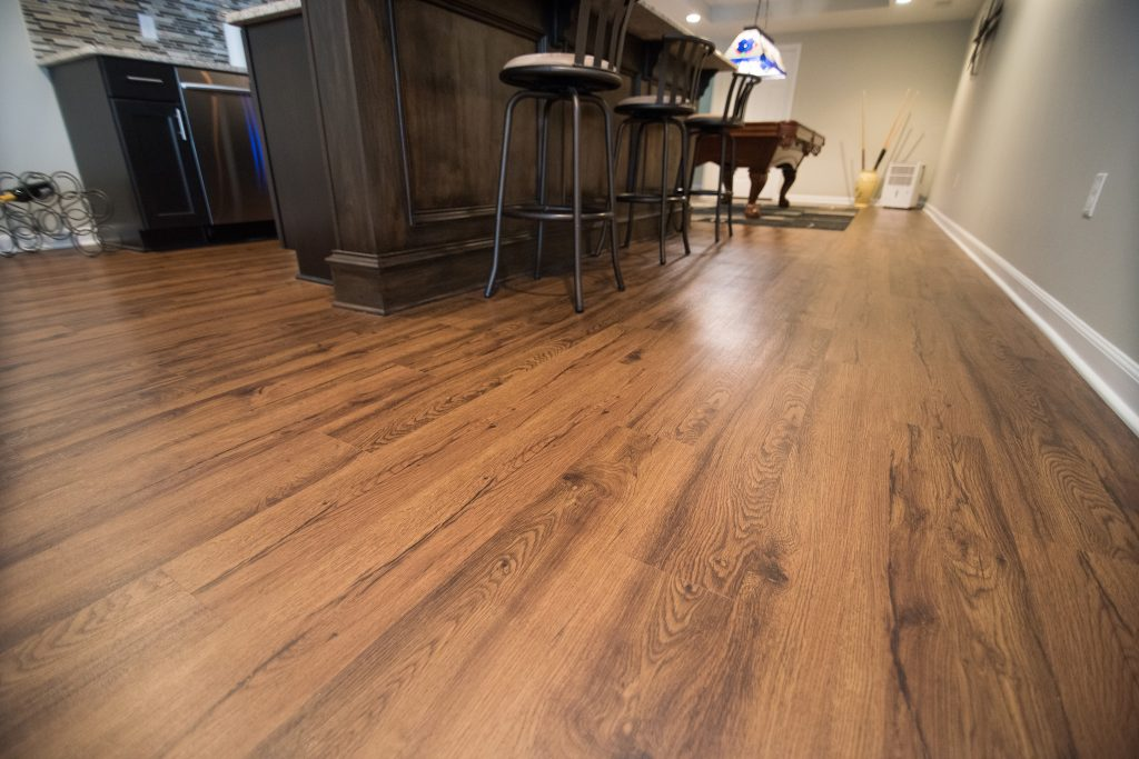 basement flooring vinyl plank dark brown