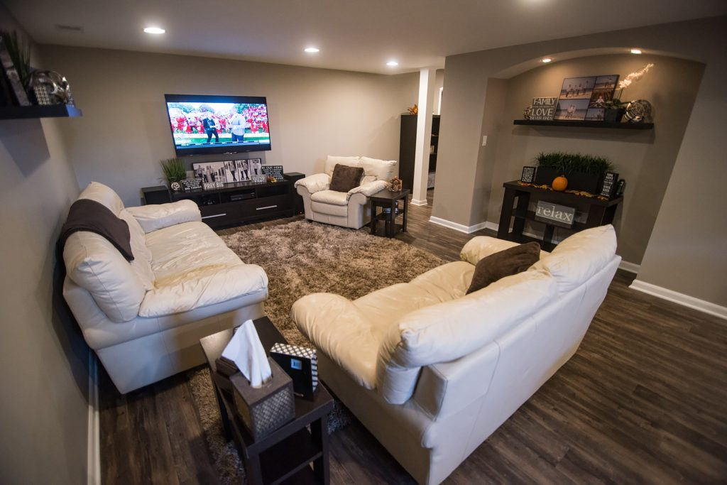 lower level living room with vinyl plank flooring