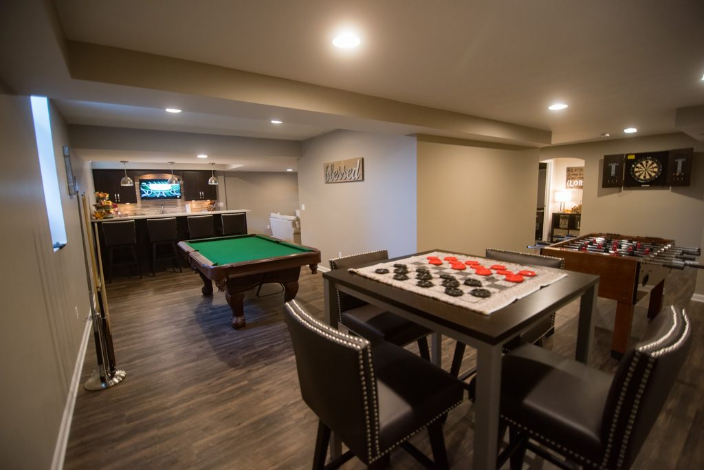 lower level recreational space and bar