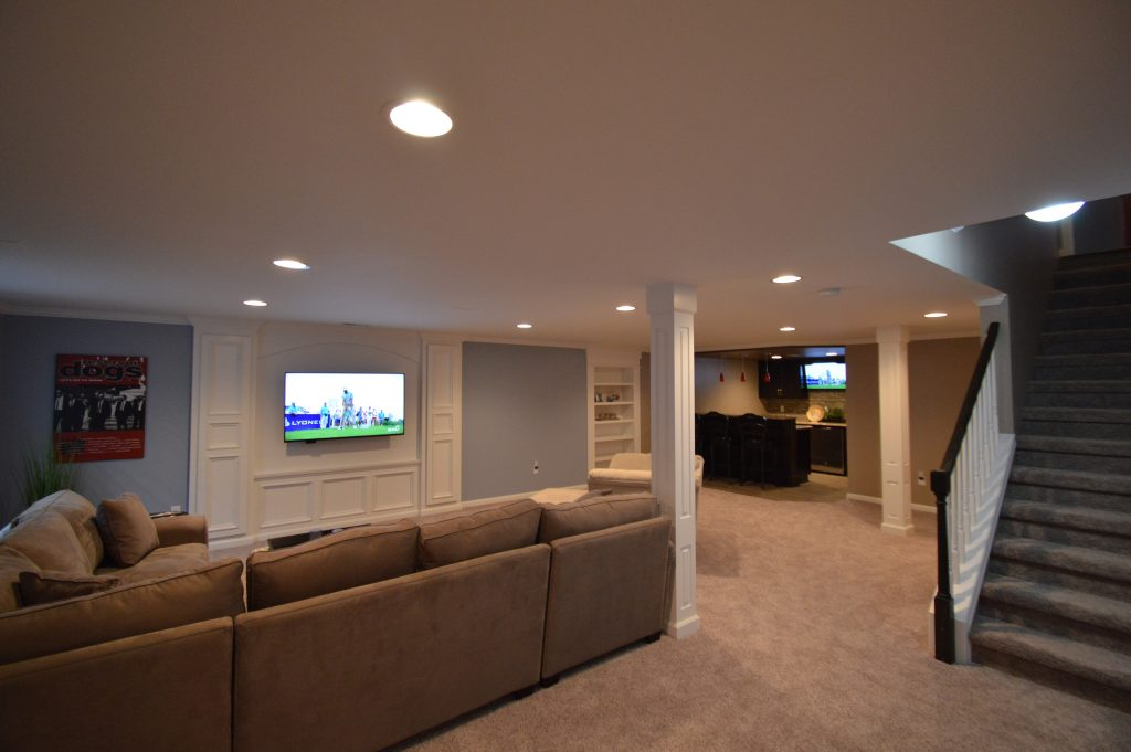 open floorplan basement with post wraps