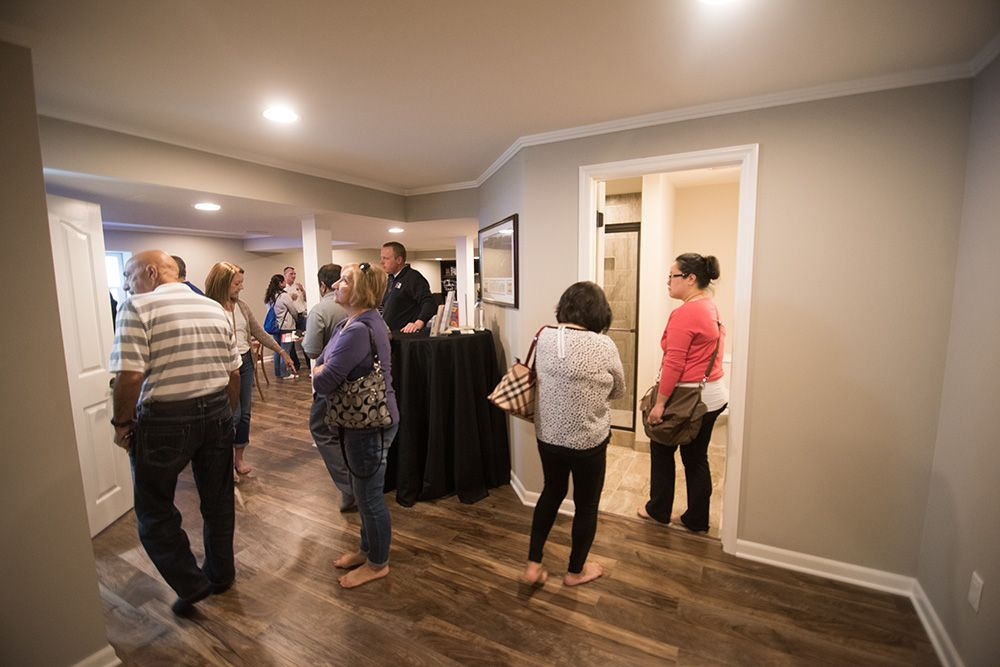 open house guests visiting finished basement