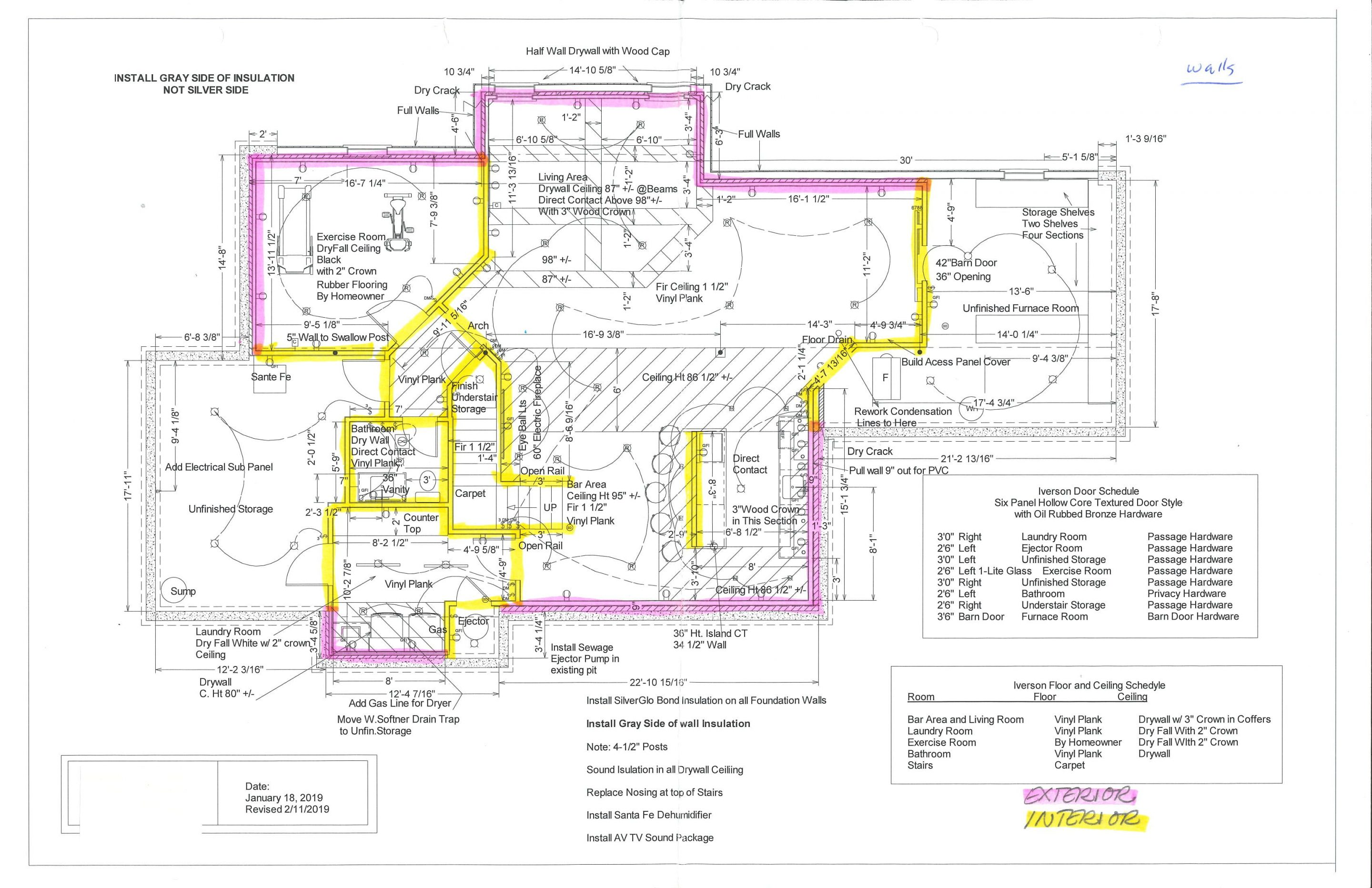 blueprint of finished basement with walls highlighted