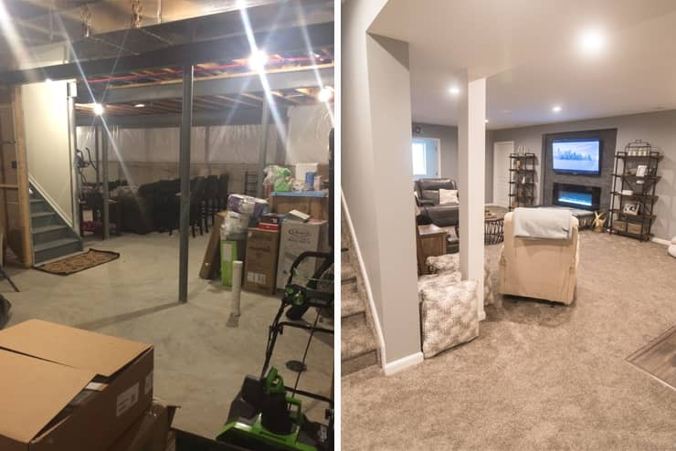 before and after of south lyon, michigan finished basement with staircase and living room