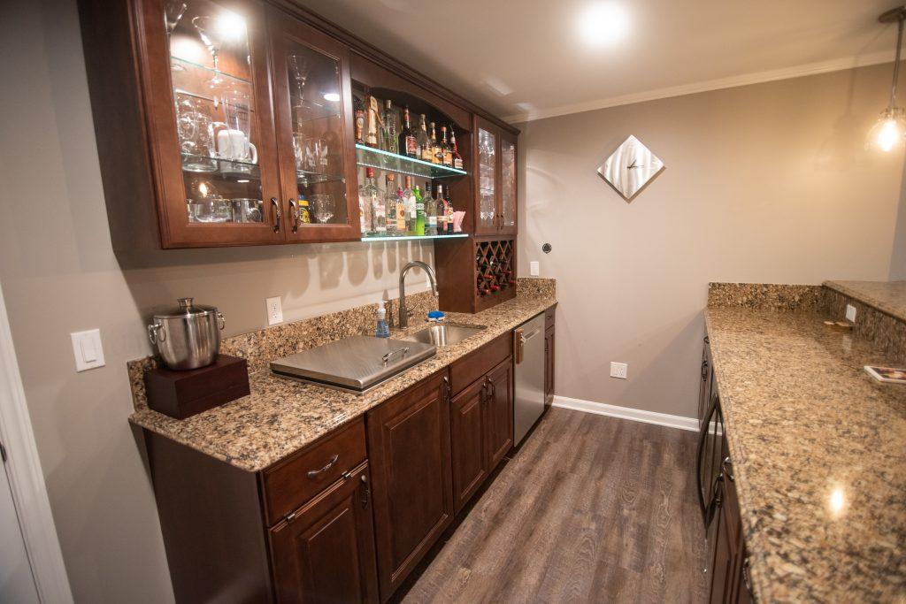 basement bar area shelving lighting wine rack
