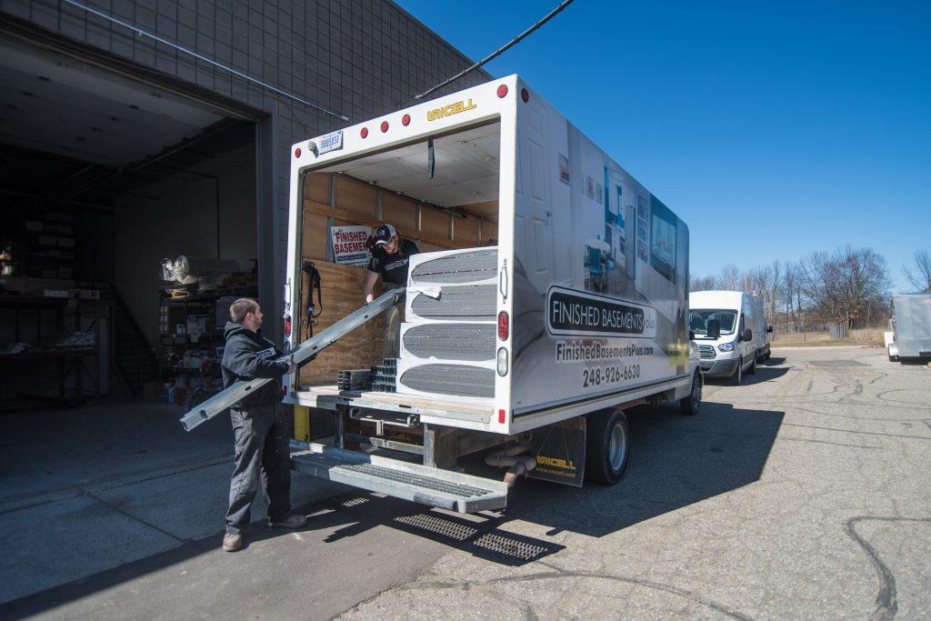 finished basements plus products logistics loading truck
