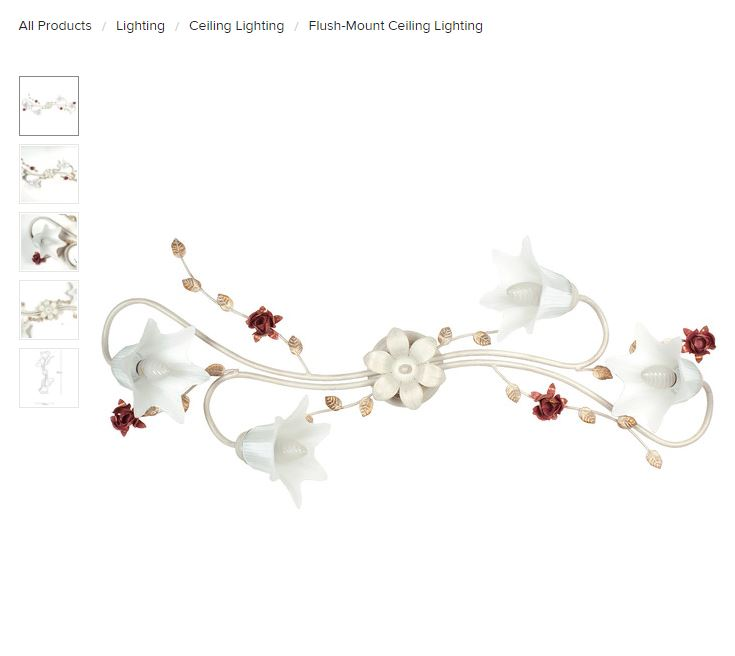 lighting fixture with flowers and curly accents